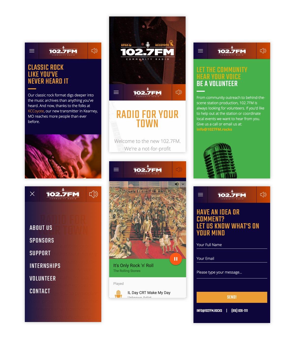 102.7FM mobile screens