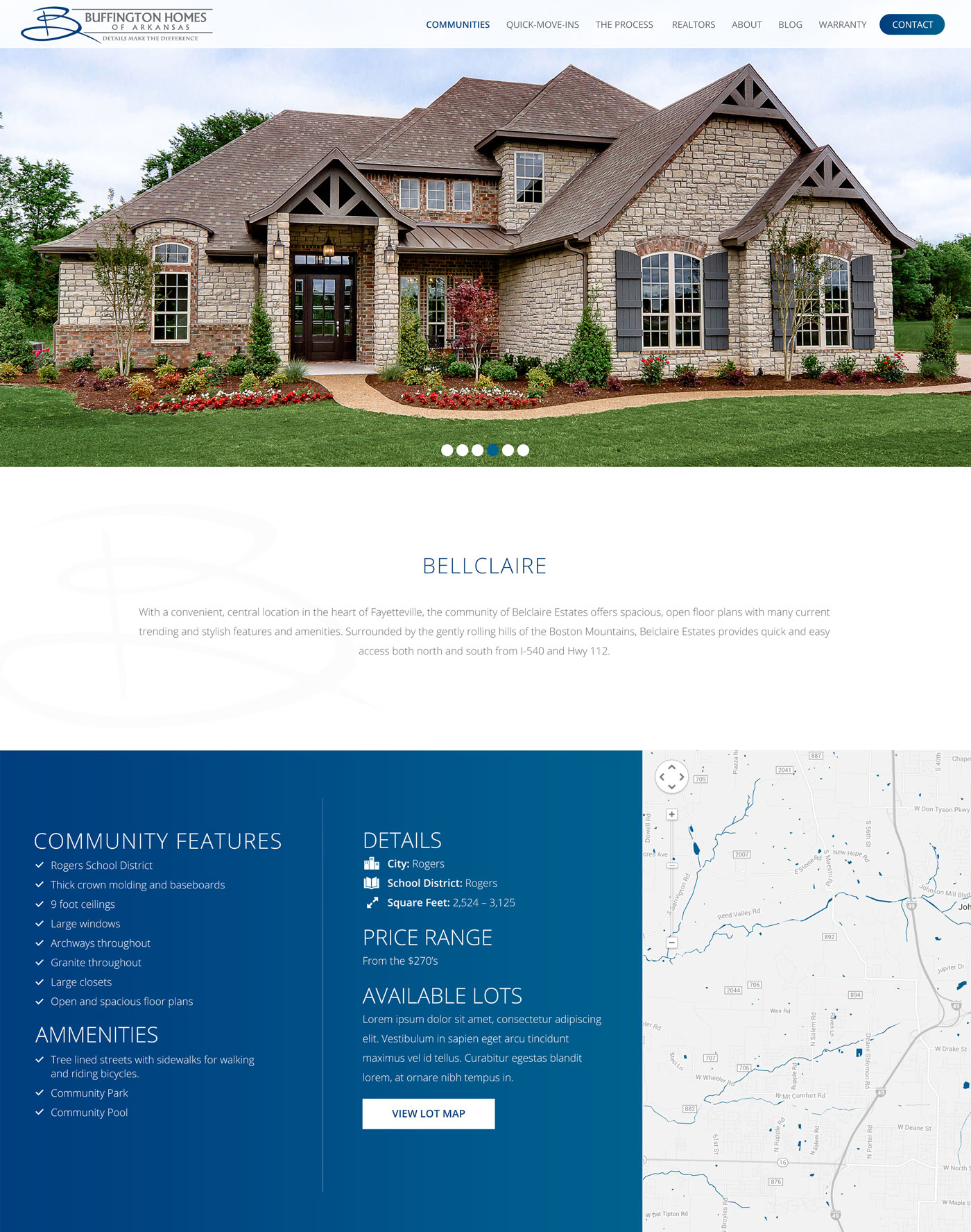 buffington homes of arkansas website community desktop example screen