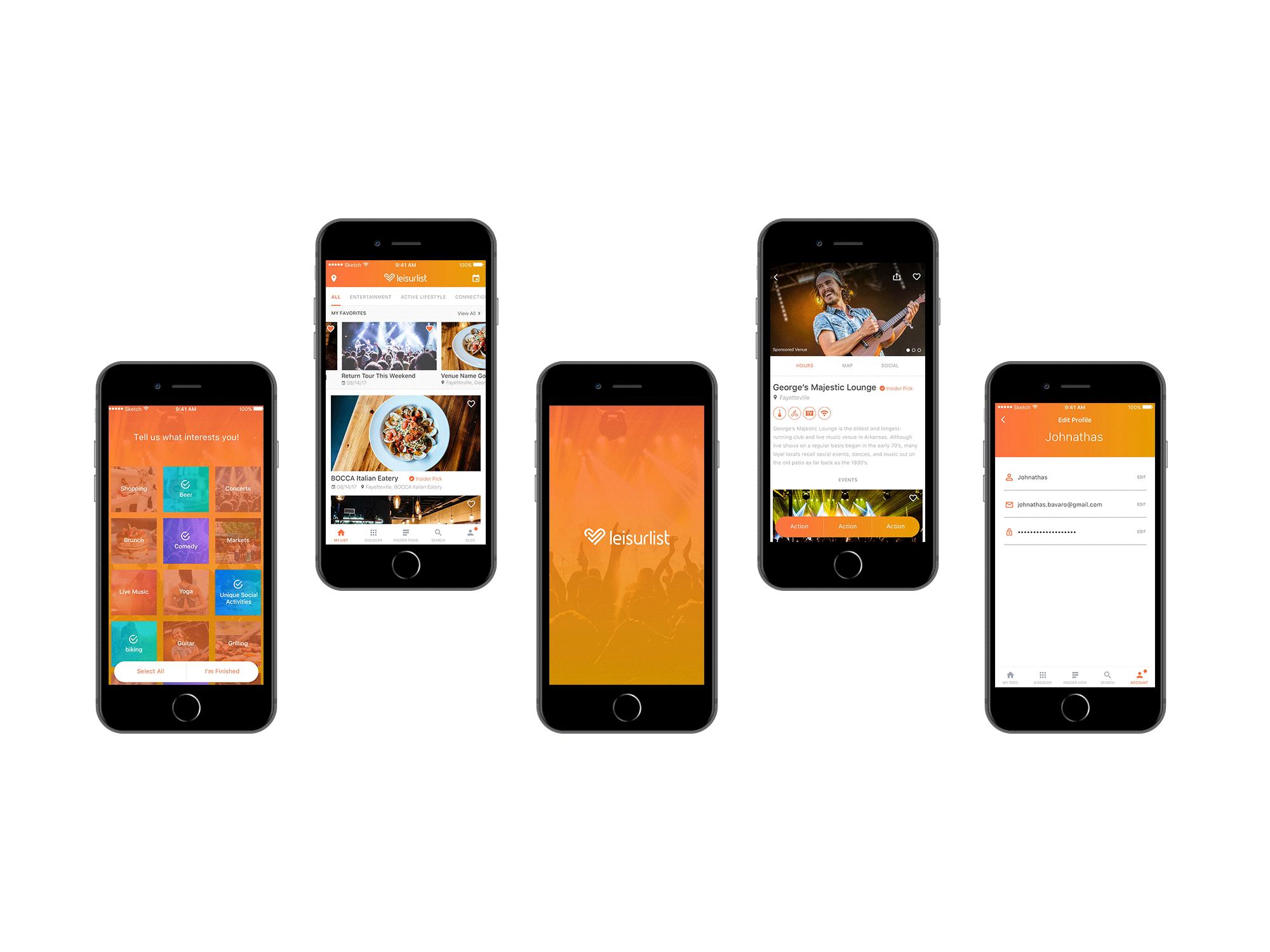 Leisurlist App Screens