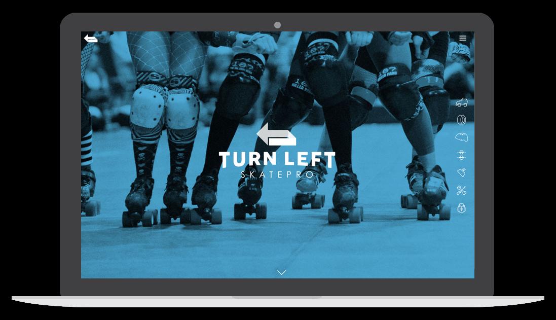turn left skatepro website homepage desktop screen