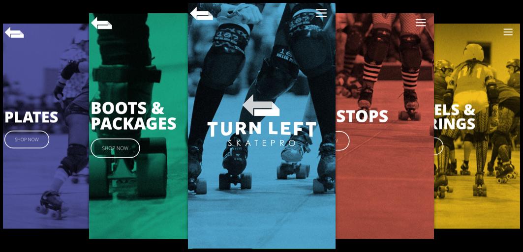 turn left skatepro website mobile screens color examples