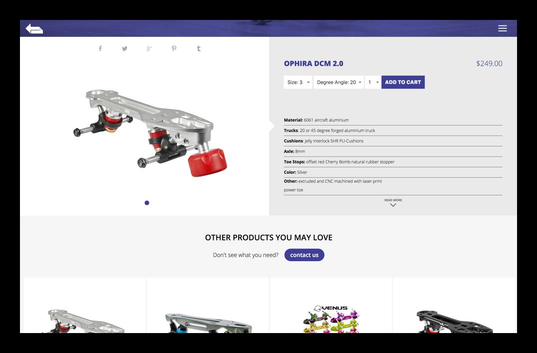 turn left skatepro website desktop product page example